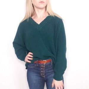 Express Forest Green Chunky Knit-V-Neck Sweater